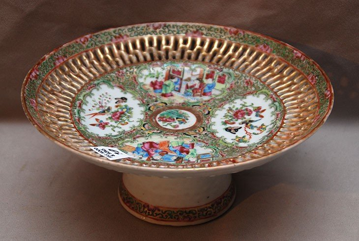 19: Rose Medallion reticulated compote (nick to outer e