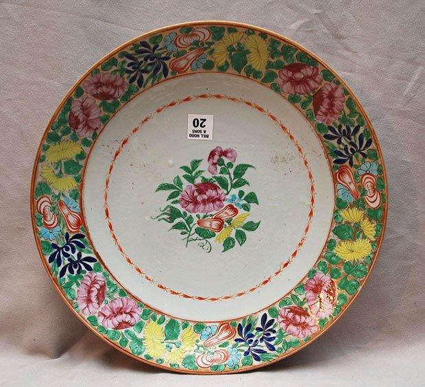 """20: Porcelain antique floral charger, 13 1/2""""dia x 2""""h"""