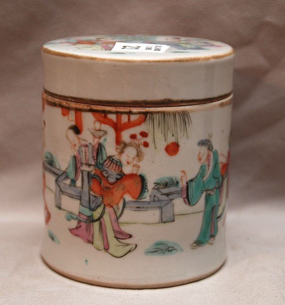 21: Chinese round covered box (chip to inside cover) 4