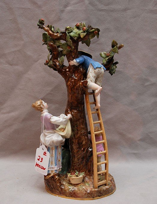 23: Meissen figural grouping with tree, ladder and 4 fi