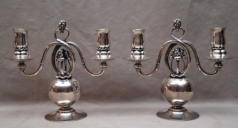 80: Pair of Georg Jensen sterling silver two light cand