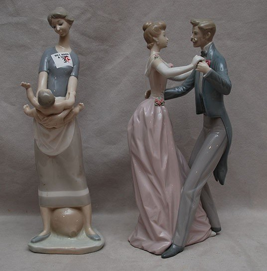 3: 2 Lladro sculptures: Mother and Child, 13'H; a coupl