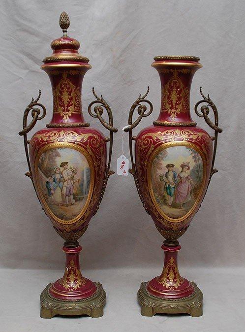 8: Pair of large Sevres urns, with hand painted panels