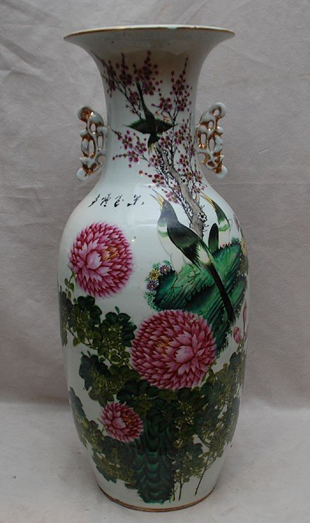 10: Chinese 19th c. vase with bird and floral motif, 22