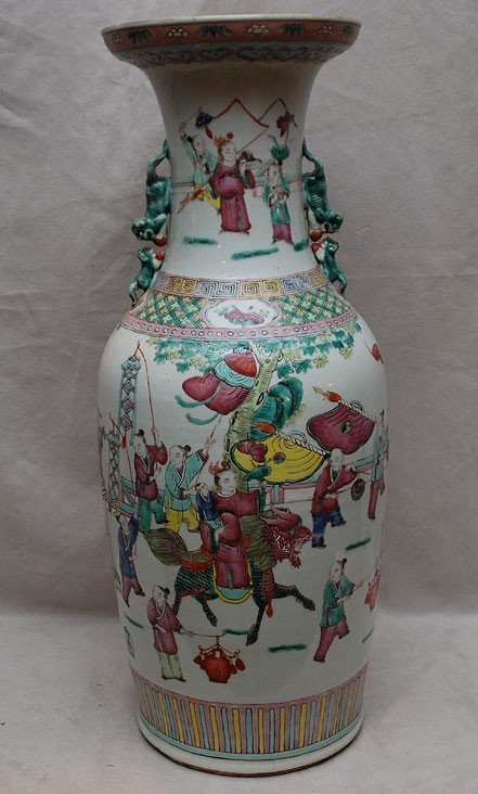 "11: Chinese 19th c. vase with figures around, 24""h x 10"