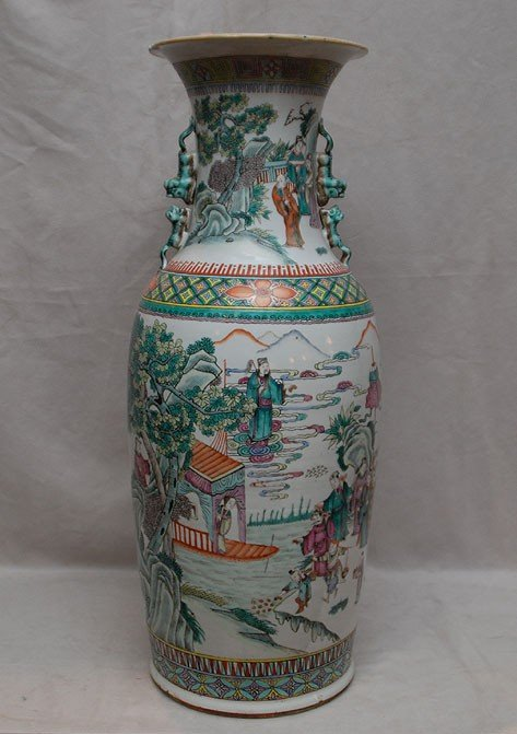 "12: Chinese 19th c. vase with figures around, 24 1/2""h"