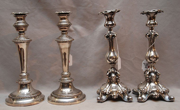 "13: 2 pair of old silver plate candlesticks, 11 1/2""h ("