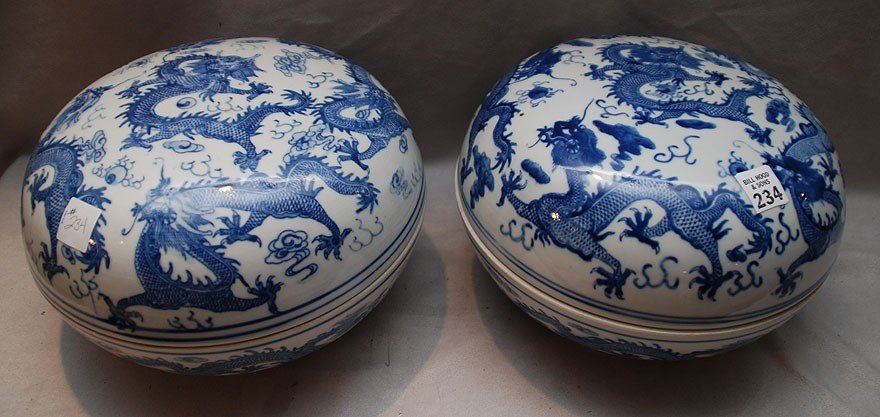 14: Pr. Chinese blue & white covered large bowls with d