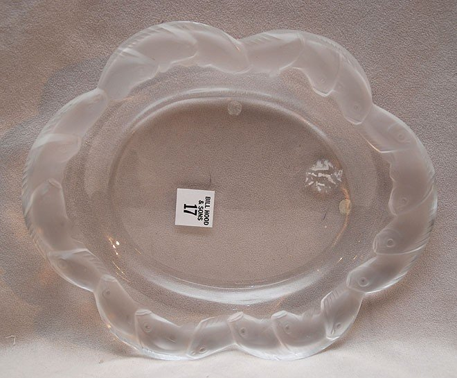 17: Lalique France oval platter with dolphin rim, 10 3/