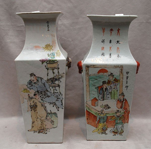 27: 2 Antique Chinese porcelain square vases with