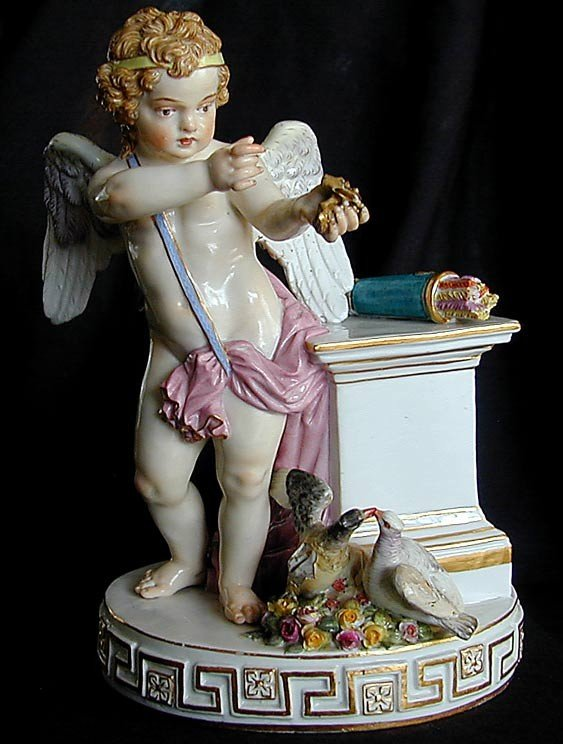"217: 19THC MEISSEN FIGURE OF CUPID WITH DOVES 7.5""HA fi"