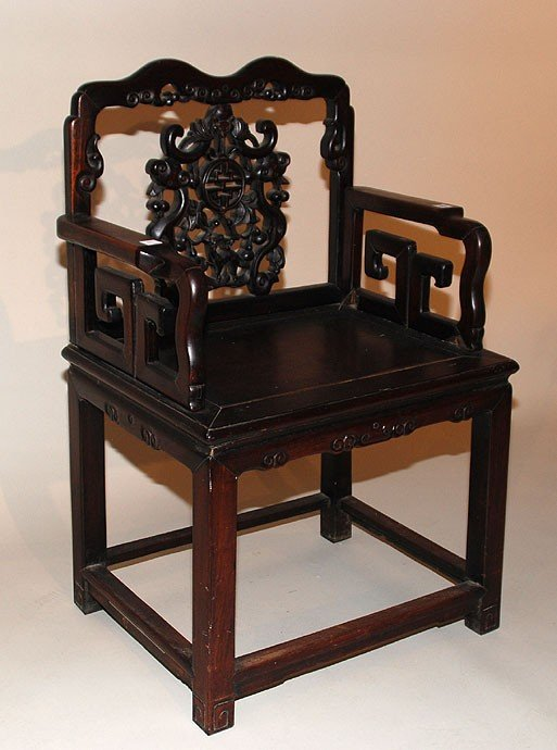 234: Antique Chinese Carved Wood Chair.  Condition: goo