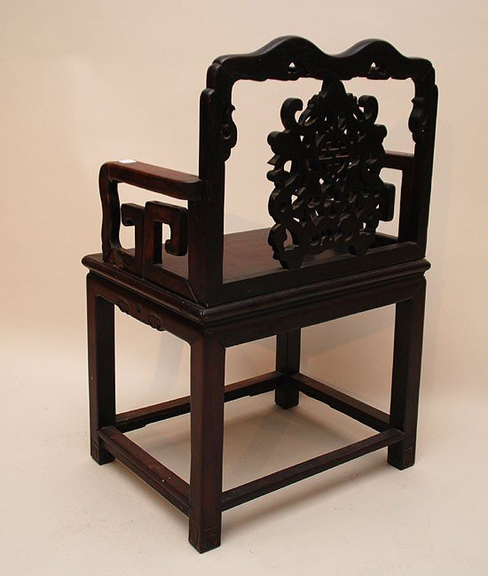 234: Antique Chinese Carved Wood Chair.  Condition: goo - 2