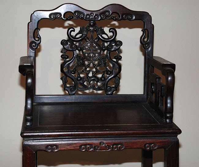 234: Antique Chinese Carved Wood Chair.  Condition: goo - 3