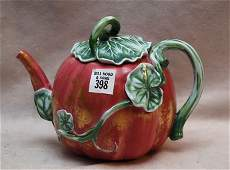 398: Royal Worcester Majolica teapot, date marked 1877