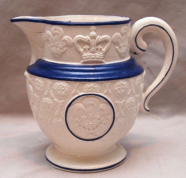 1: 19th c. English soft paste commemorative jug with pl