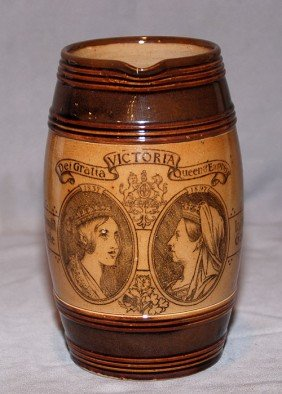 4: English pottery, brown jug commemorating Victoria, 7