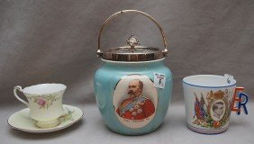 "Commemorative Biscuit Jar, King Edward VII, 9""h To T"