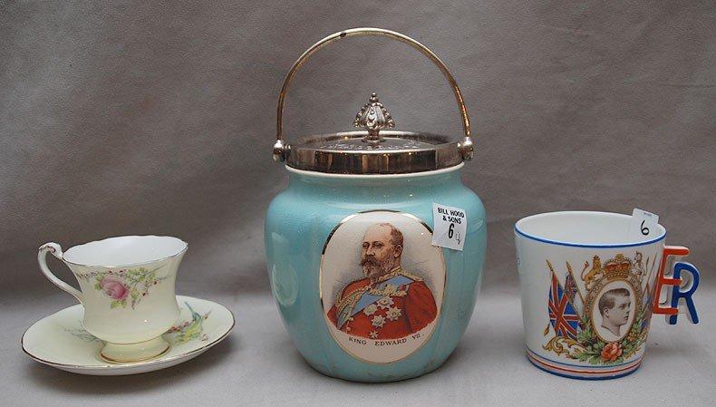 "6: Commemorative biscuit jar, King Edward VII, 9""h to t"