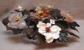 8: Centerpiece variety of hard stone flowers & leaves,