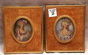 10: Pair painted portraits on celluloid in oval ivory f
