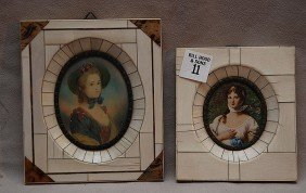 "11: 2 hand painted oval portraits in ivory frames, 6"" x"