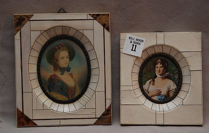 """11: 2 hand painted oval portraits in ivory frames, 6"""" x"""