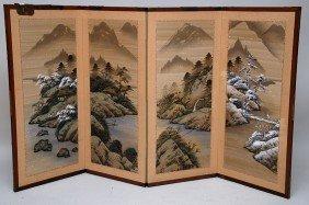 Four Panel Oriental Hinged Screen, Hand Painted Lan