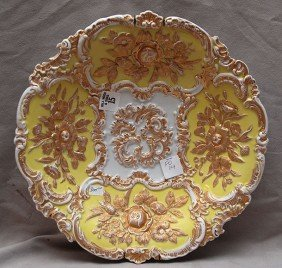 15: Meissen plate with gilded floral relief panels on y