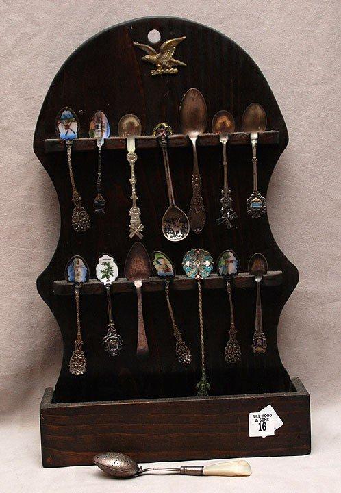16: Collection of souvenir spoons, silver & silver plat