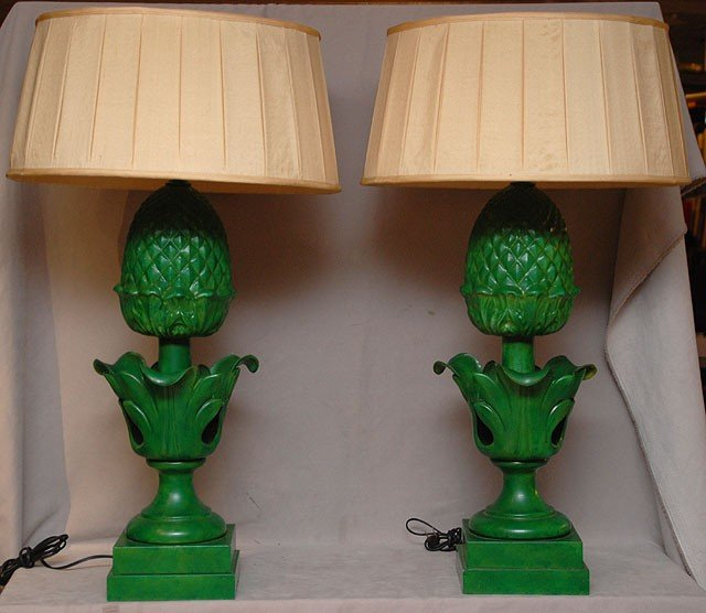 17: Pair of 20th c. green tole pineapple form lamps, 33
