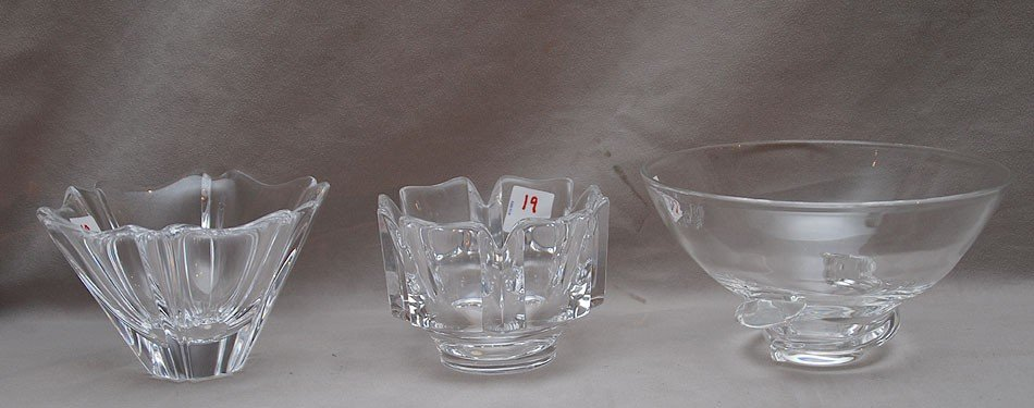 19: 3 crystal bowls, 1 Steuben and 2 Orrefors