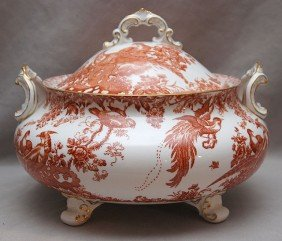 "23: Royal Crown Derby, footed and covered tureen, 9""h x"