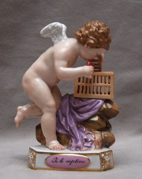 Meissen Putti Opening A Cage To See If His Captive