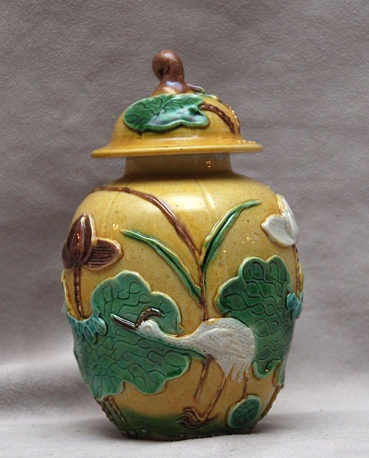 "130: Chinese covered pottery jar marked ""China"", white"