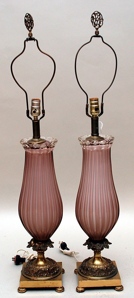 135: Pr. of mid century pink glass lamps on brass bases