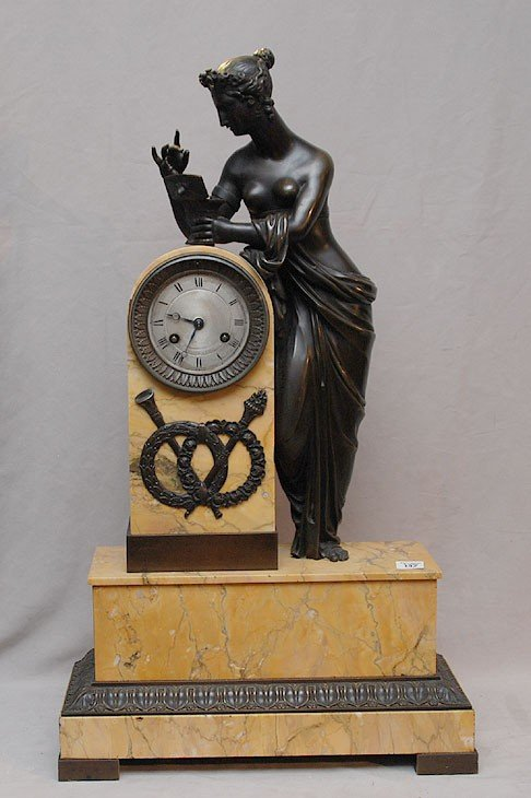 "142: 19th Cent. French bronze and marble clock, 26""h x"