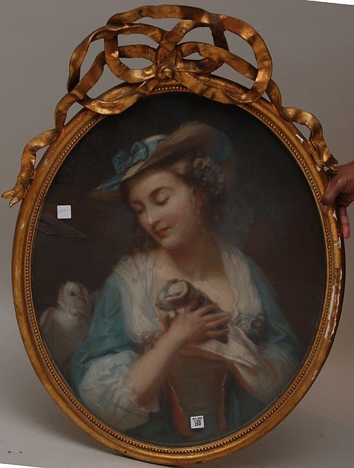 "150: Antique large oval pastel ""girl w/ doves"" in gilt"