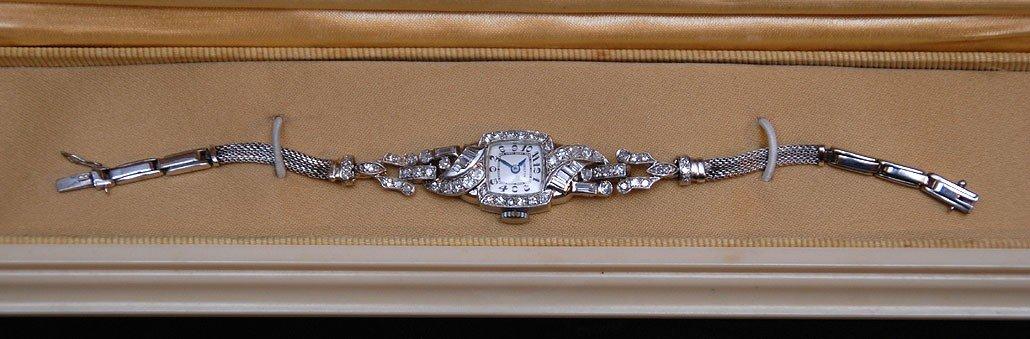 189D: Vintage platinum & diamond ladies Hamilton watch,