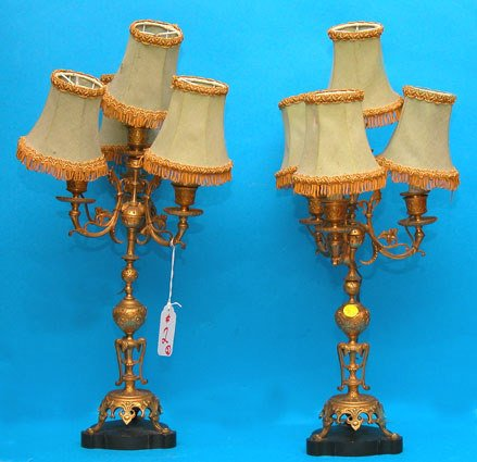 1002: Pair of  bronze 4-light electrified candelabra on