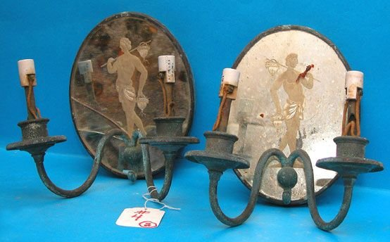 1004: Pair of  2-light mirrored and corroded brass wall