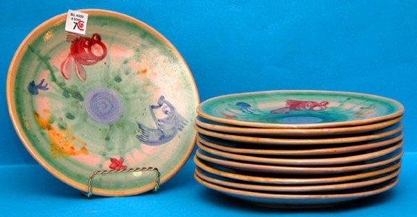 1007: (10) funky  Italian plates, colorful fish motif;
