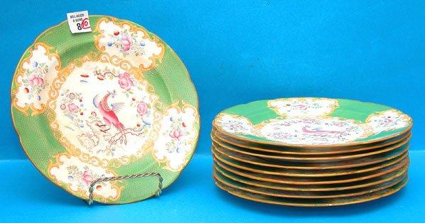 "1008: (10) Minton plates, peacock motif; 9"""