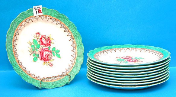 1011: (10) Booth's, England  plates, pink roses at cent