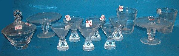 "1012: (6) Steuben 4"" glasses (2) 3 1/2""h cake plates (1"
