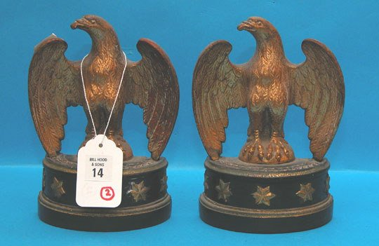 """1014: Pair of 6""""h x 6""""l wood eagle bookends on 2 1/2""""h"""