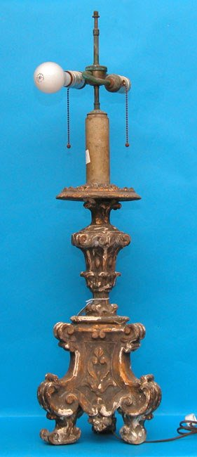 1015: 19th century carved wood foliated candlestick wit