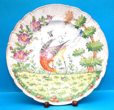 1018: Colorful peacock platter, Chelsea, minor firing c