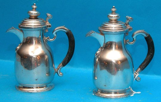 1022: Pair of Chester, England pots, scrolling silver a