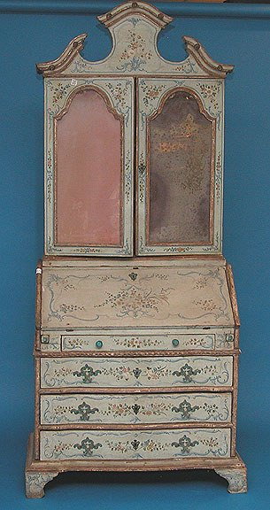 1177: Venetian style secretary painted light blue